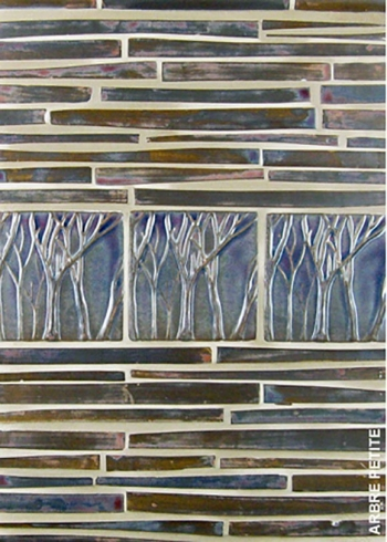 "<h5>Arbre Petite</h5><p>""Arbre Petite"" (small trees) 4x4 sculpted trees in EspressO #65 with Batons field tile.</p>"
