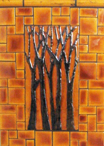 "<h5>Arbre Grande</h5><p>""Arbre Grande"" 6x12 hand-painted trees with Karmel #105 background and Mosaic blend.</p>"