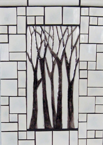 "<h5>Arbre Grande</h5><p>""Arbre Grande"" 6x12 hand-painted trees with Crackle #50 background and Mosaic blend.</p>"