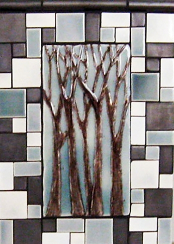 "<h5>Arbre Grande</h5><p>""Arbre Grande"" 6x12 Hand-painted trees with Skyy #315 background and Mosaic blend.</p>"