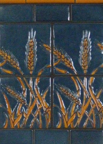 "<h5>Wheat</h5><p>""Wheat"" 6x6 relief tiles in Starry Night #195 and Karmel #105.</p>"