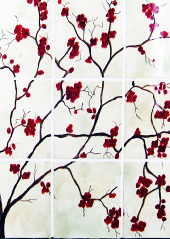 "<h5>Cherrie Branche</h5><p>""Cherrie Branche"" hand-painted mural in 6x6 tiles with white under glaze.</p>"