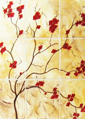"<h5>Cherrie Branche</h5><p>""Cherrie Branche"" hand-painted mural in 6x6 tiles with Gold under glaze.</p>"