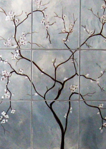 "<h5>Cherrie Branche</h5><p>""Cherrie Branche"" hand-painted mural in 6x6 tiles with Grey under glaze.</p>"