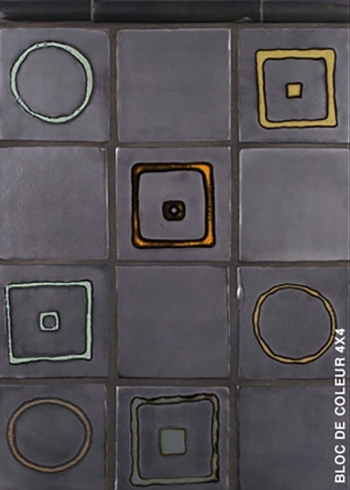 "<h5>Blocs de Coleur</h5><p>""Blocs de Coleur"" (Color Blocks) 4x4 tiles with decorative patterns in Griffen #85.</p>"