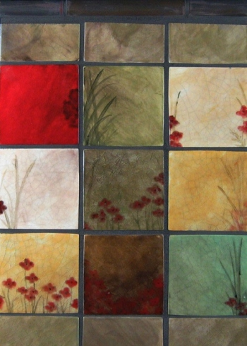 "<h5>Champs de Pavots</h5><p>""Champs de Pavots"" (Field of Poppies) 4x4 Hand painted decos in 9 unique designs.  Matte Finish.</p>"
