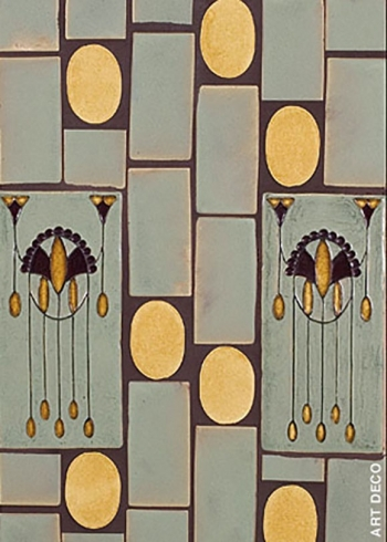 "<h5>Art Deco</h5><p>""Art Deco"" 4x8 relief decos in Moonstone #135 and Chamomile #45.</p>"