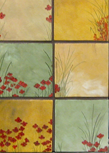 "<h5>Champs de Pavots</h5><p>""Champs de Pavots"" (Field of Poppies) 6x6 Hand painted decos in 6 unique designs.</p>"