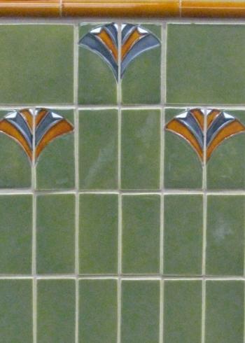 "<h5>Tivoli</h5><p>""Tivoli"" 2x4 relief tiles in Moonstone #135, Griffen #85, Karmel #105.</p>"