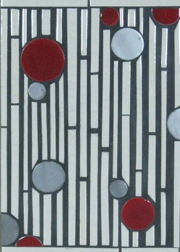 "<h5>Batons & Circles</h5><p>""Batons & Circles"" hand-cut field in Crackle #50, Griffen #85 and Veruca #210.</p>"