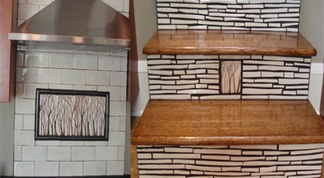"<h5>DIY Network Feature</h5><p>Featured in DIY Network&#039;s ""I Hate My Kitchen"". 4×8 Arbre (Trees) over cooktop and Baton field tile on stair risers.</p>"