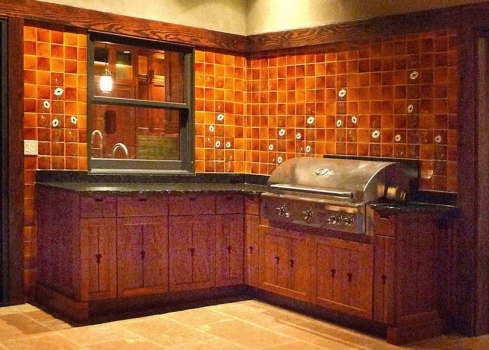 "<h5>Outdoor Kitchen</h5><p>Custom ""Sculpted Poppies"" outdoor kitchen in Karmel #105.</p>"