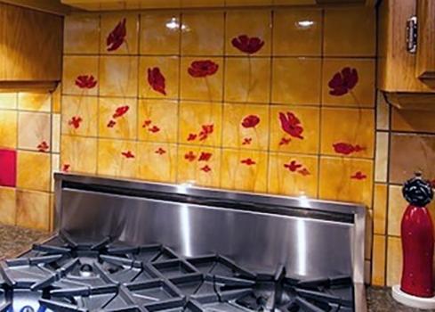"""<h5>Champs de Pavot</h5><p>&quot;Champs de Pavots"""" 4×4 hand-painted mural in poppy theme.</p>"""