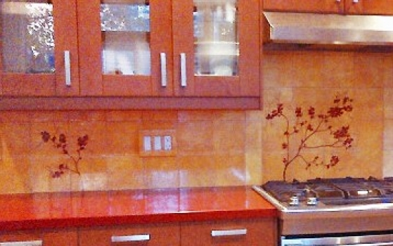 <h5>Custom Kitchen</h5><p>Hand-painted backplash.</p>