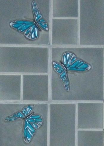 "<h5>Flyte</h5><p>""Flyte"" (Butterflies) 6x6 relief decos. </p>"