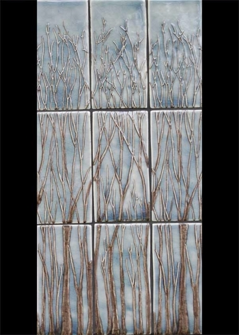 <h5>Florette Grande</h5><p>Sculpted trees 3 4x8 tiles tall with a horizontal repeat.  Shown in Skyy #315 glaze</p>