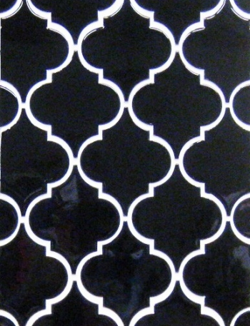 "<h5>Trellis</h5><p>Custom made field tile in the classic ""Arabesque"" design in Gloss Black.</p>"