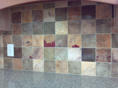 <h5>Champs de Pavots</h5><p>Backsplash in 4x4 hand-painted decos .</p>