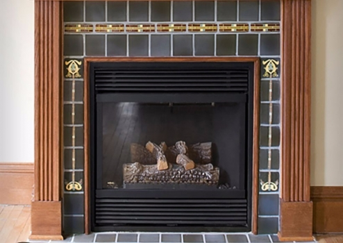 <h5>Fluer Fireplace</h5><p>&quot;Fluer&quot; fireplace surround in Lofte #115.</p>