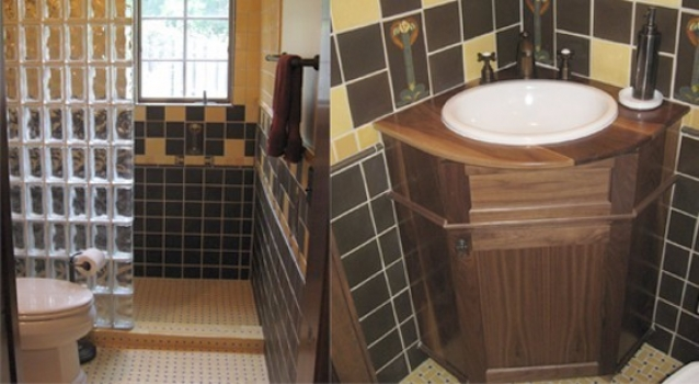 "<h5>Rosie Bath</h5><p>""Rosie"" 4×8 with 4×4 field tile in Slate 170 and Camomile 45.</p>"